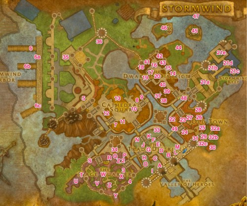 Stormwind Vendors, Trainers and Quartermasters